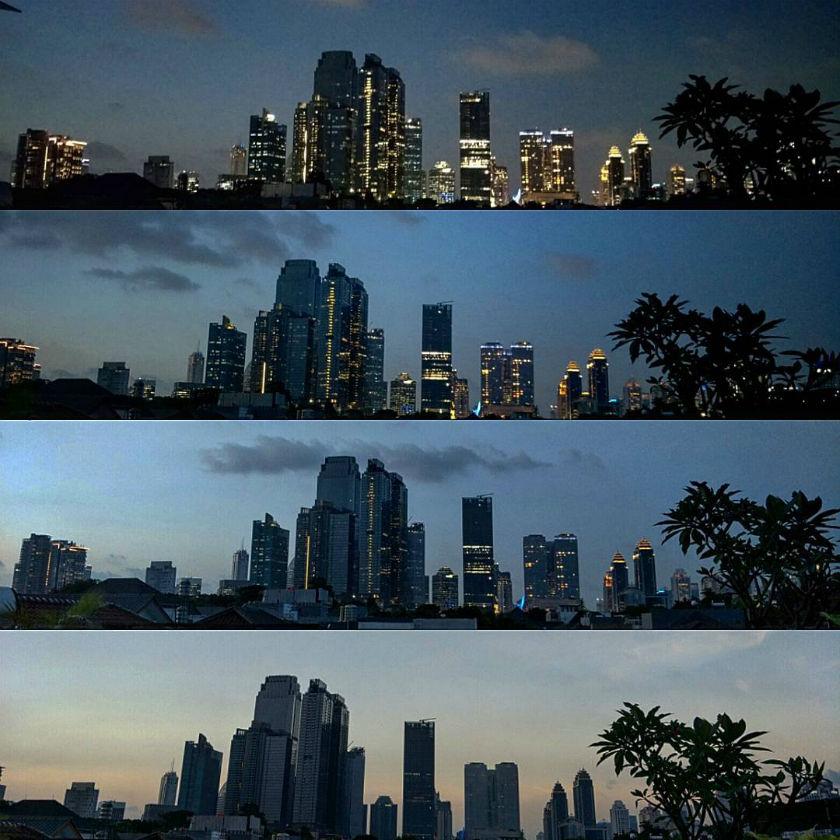 Jakarta, rooftops, night, city